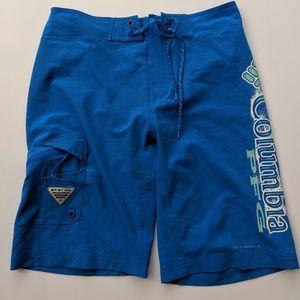 Columbia PFG Swim Shorts Blue 30W 11L Omni Shield
